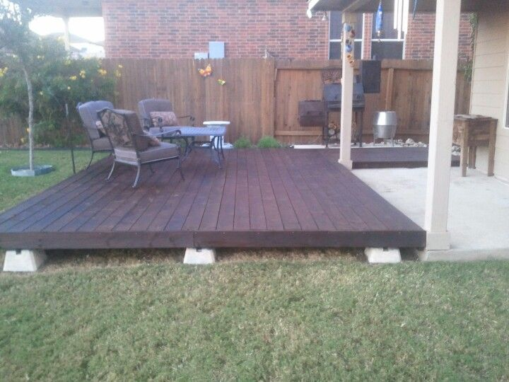 Wood deck built on deck blocks my yard pinterest Floating deck cinder blocks