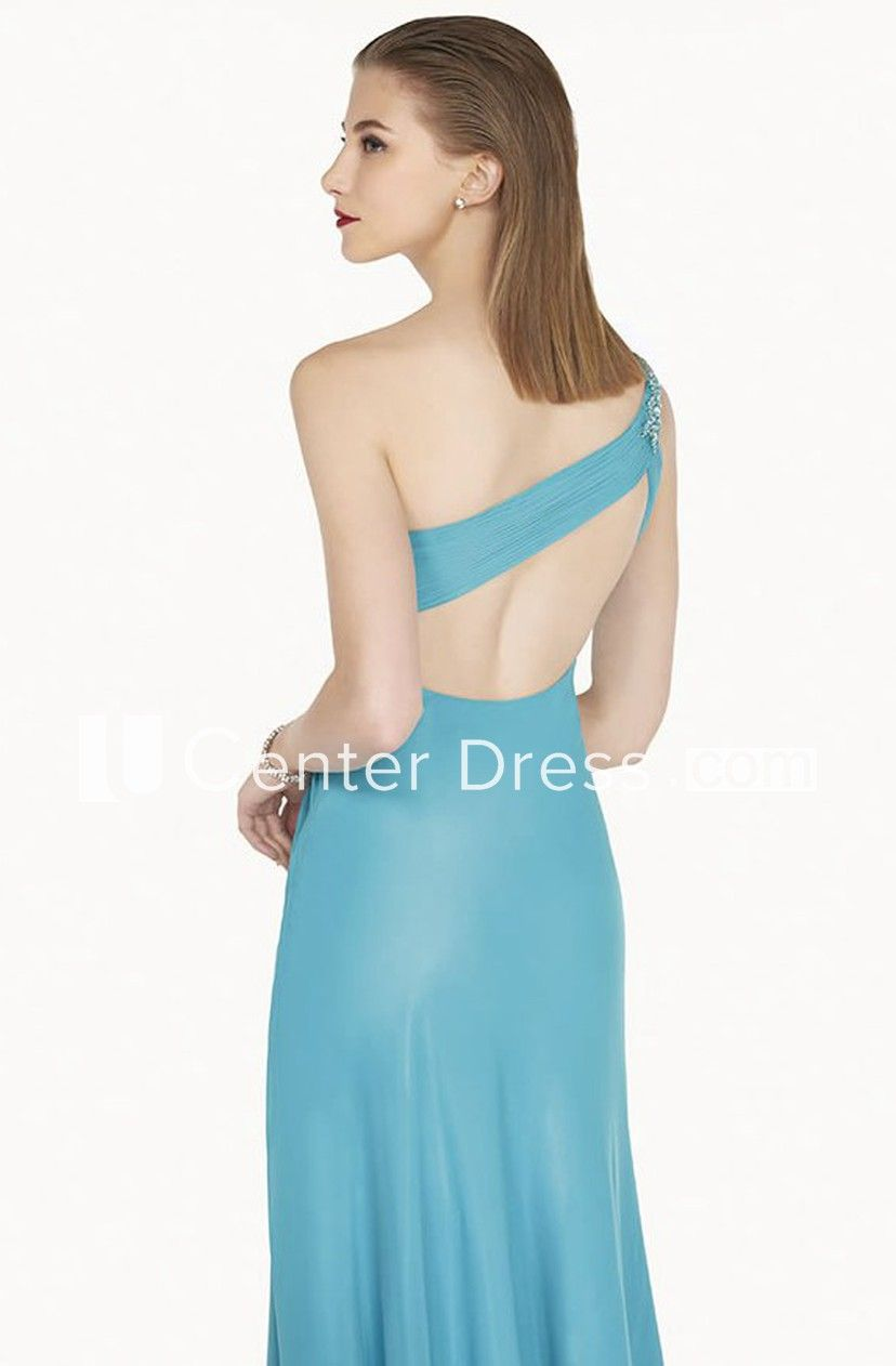 One Shoulder A-Line Chiffon Long Prom Dress With Crystal And Back Keyhole #chiffonshorts