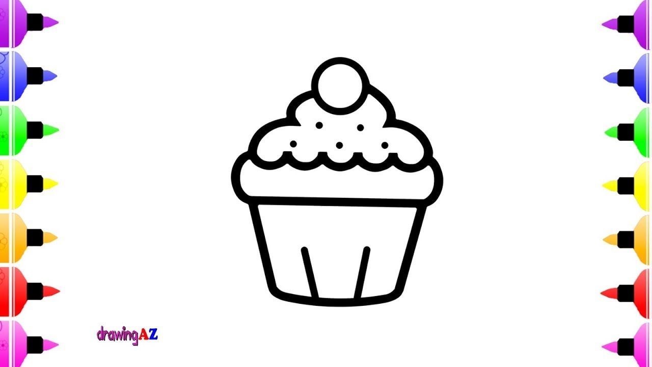 How to Draw Cupcake for Kids | Children\'s Coloring Book | Coloring ...