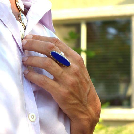 Vintage ring sterling silver lapis lazuli ladies ring size 8 #boho #bohemian #bohemianring #lapislazuli #gemstone #statementring