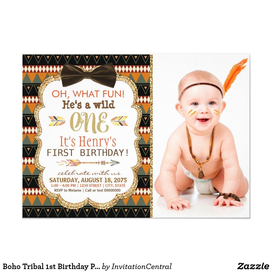 Boho Tribal 1st Birthday Party Invitation | { Happy Birthday ...