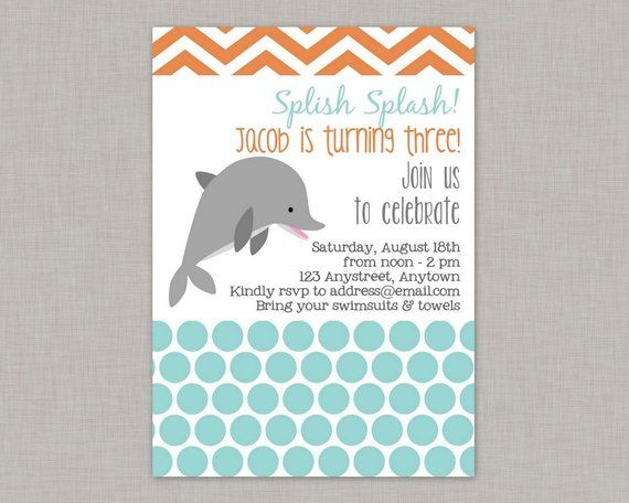 Dolphin Invitation Birthday Party Printable