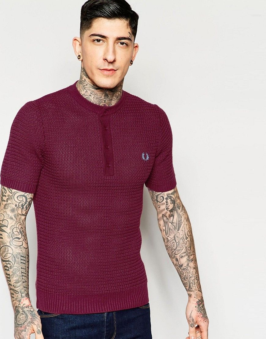 Fred Perry Laurel Wreath Jumper with Henley Neck & Textured Knit in Red
