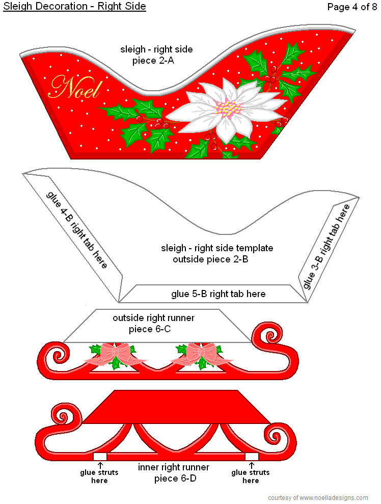3 D Sleigh Reindeer Page 4 In 2020 Free Christmas Printables Christmas Ornament Crafts Christmas Tree Template
