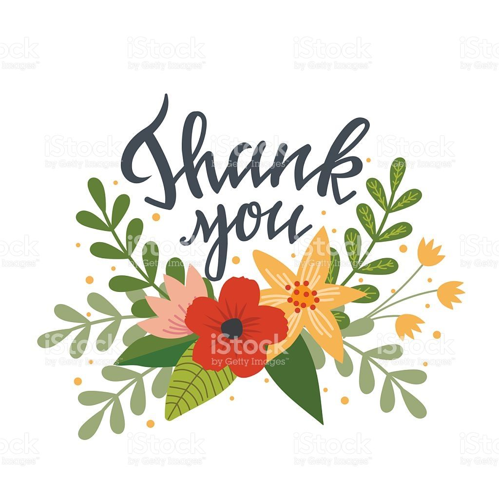 Hand Drawn Thank You Concept With Flower Element Can Be Used For Thank You Flowers Card Drawing Free Clip Art