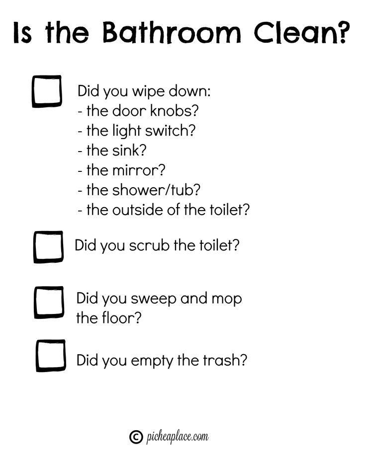 Teaching Kids to Clean the Bathroom + free printable bathroom