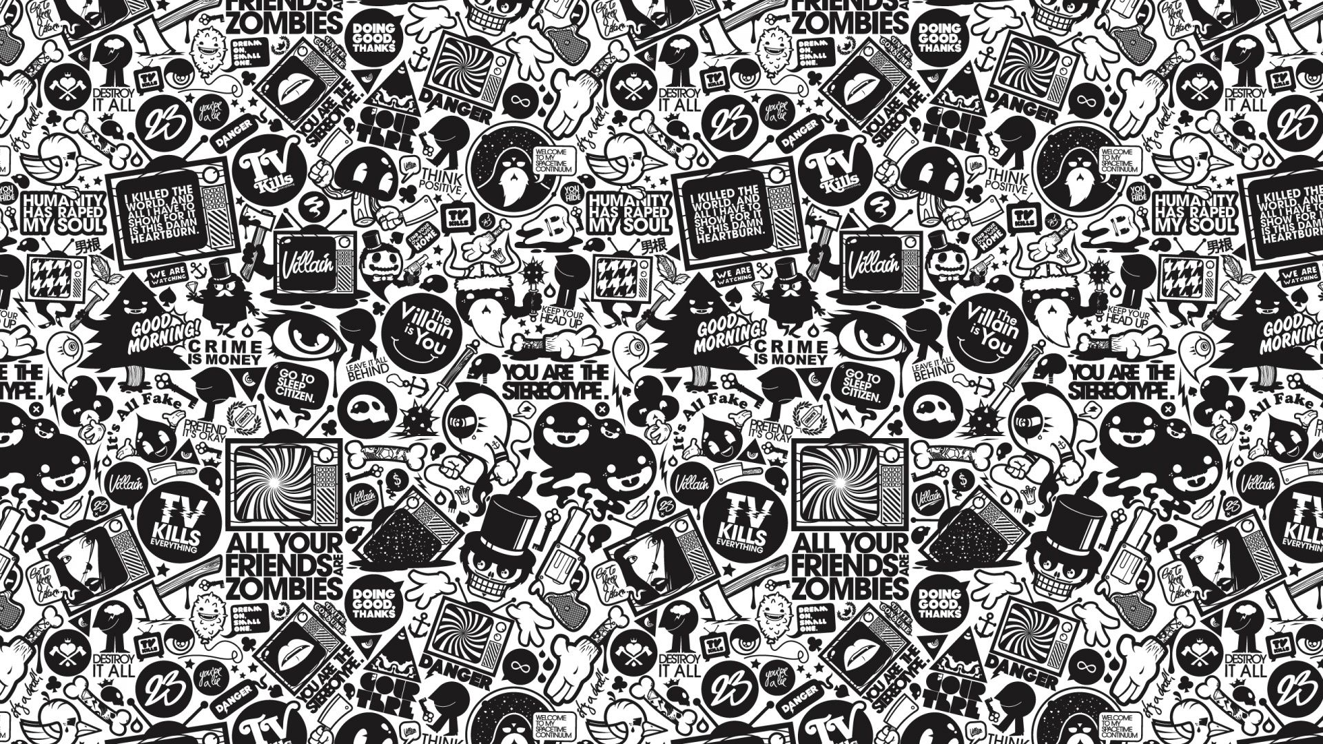Pop Art Concept Black And White Cartoon Wallpaper Doodle Cartoon Wallpaper