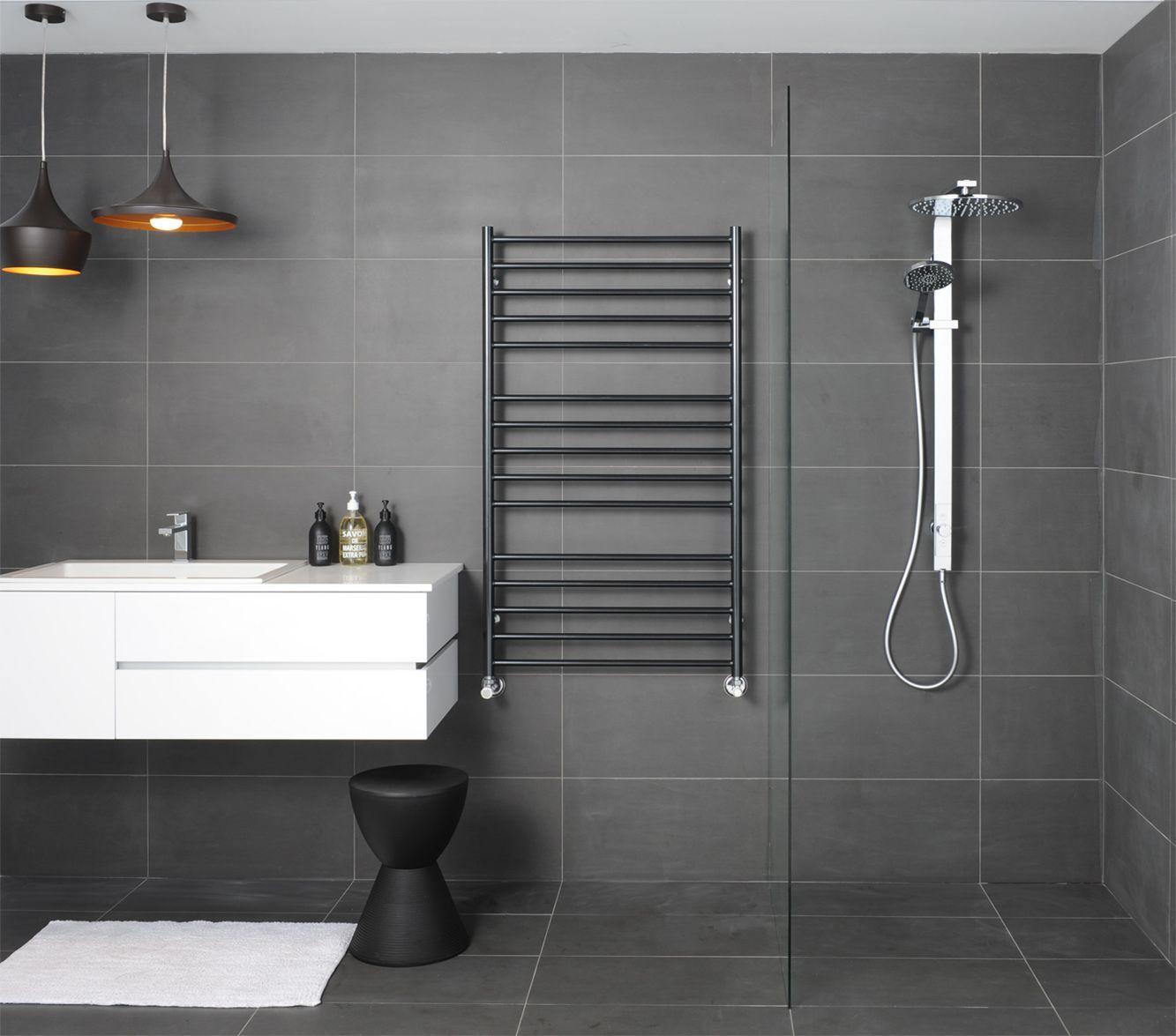 heated bathroom tiles. Bathroom With Black Slate Tiles And Heated Towel Rail Also Hanging Pendants L