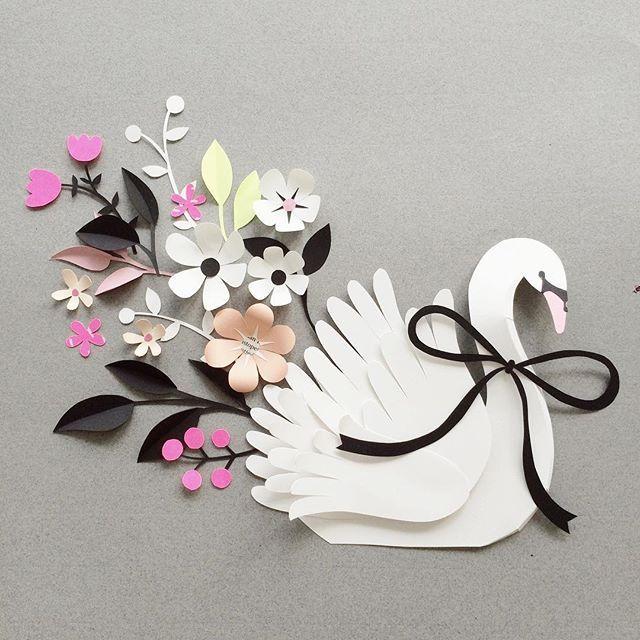 видом красивые открытки из белой бумаги птицы могут