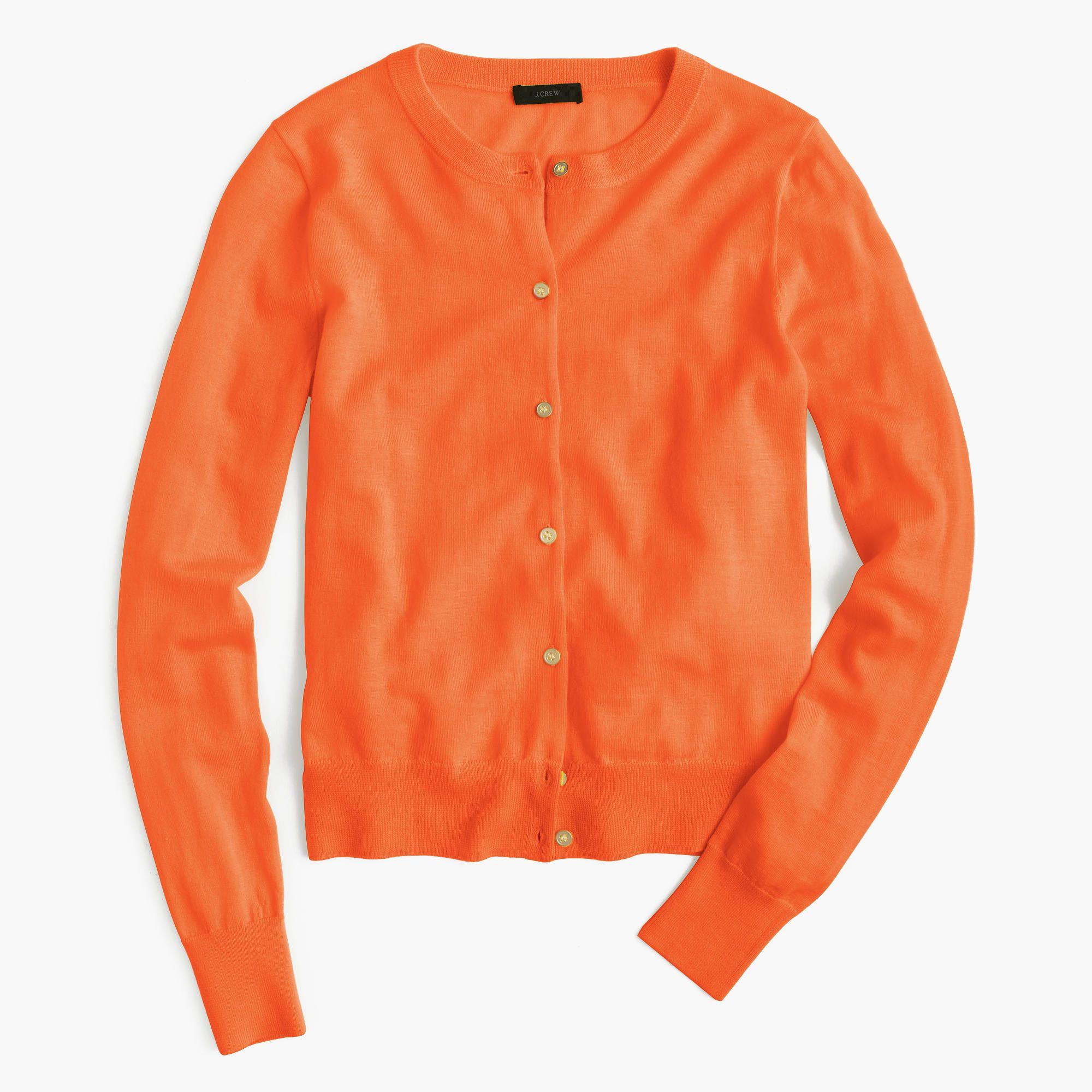 Lightweight wool Jackie cardigan sweater in Neon Orange | Neon ...