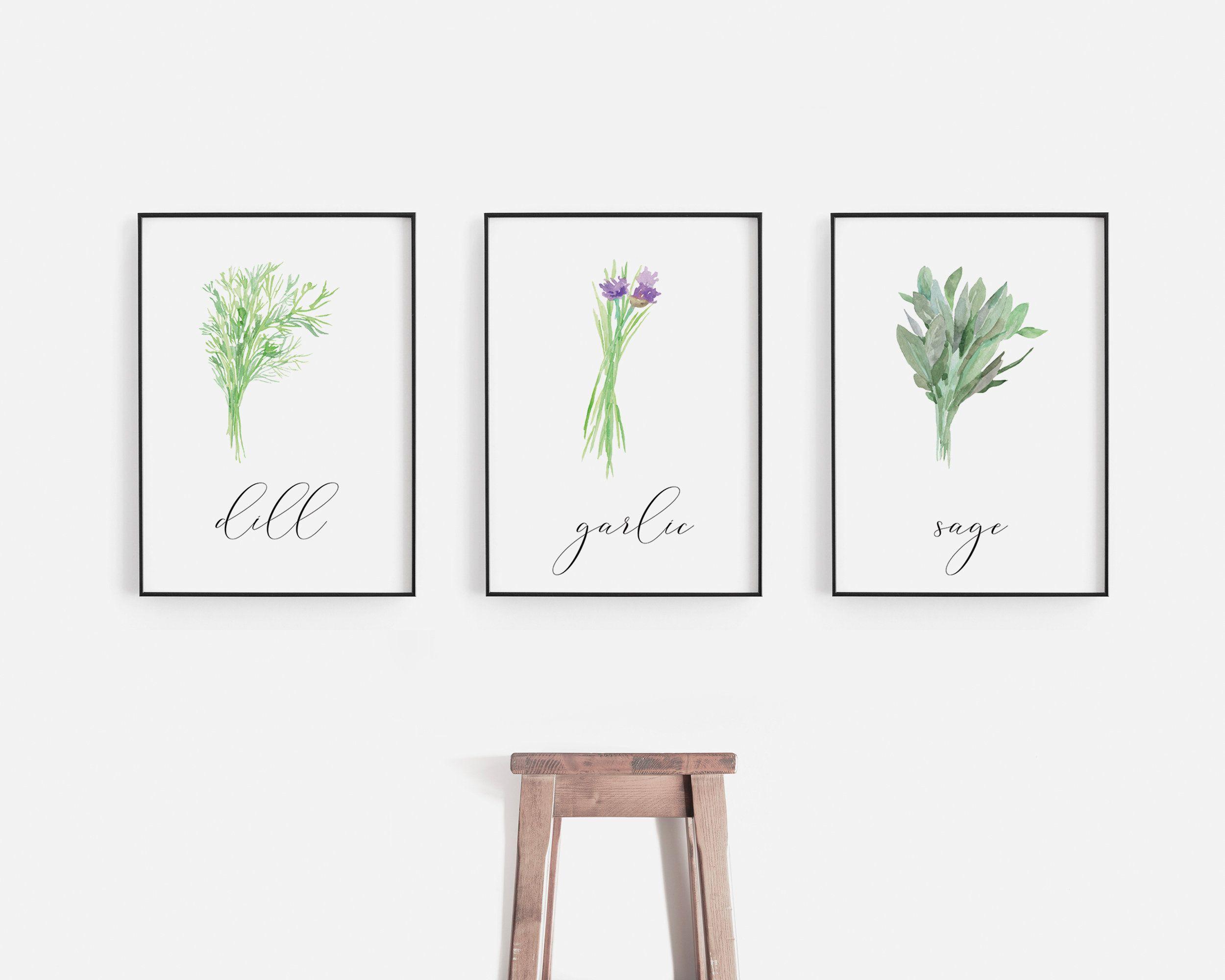 Dill print garlic print sage print herbs print set of