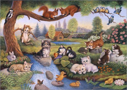 Katzenparadies im Sommer Poster von Jürgen Scholz