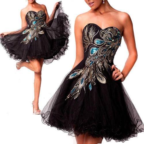BLACK CELEB PEACOCK PATTERN DIAMANTE EMBROIDERED DRESS
