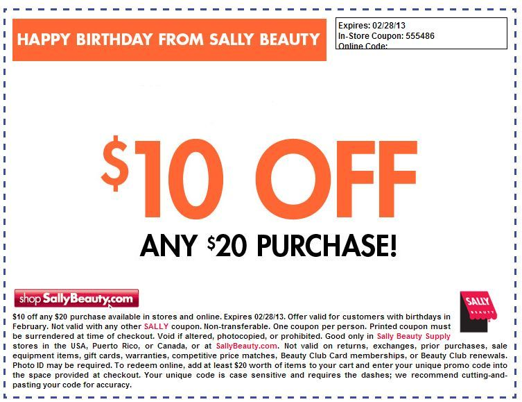photo regarding Printable Cosmetic Coupons named Sally Magnificence Shipping: $10 off $20 Printable Coupon Sally