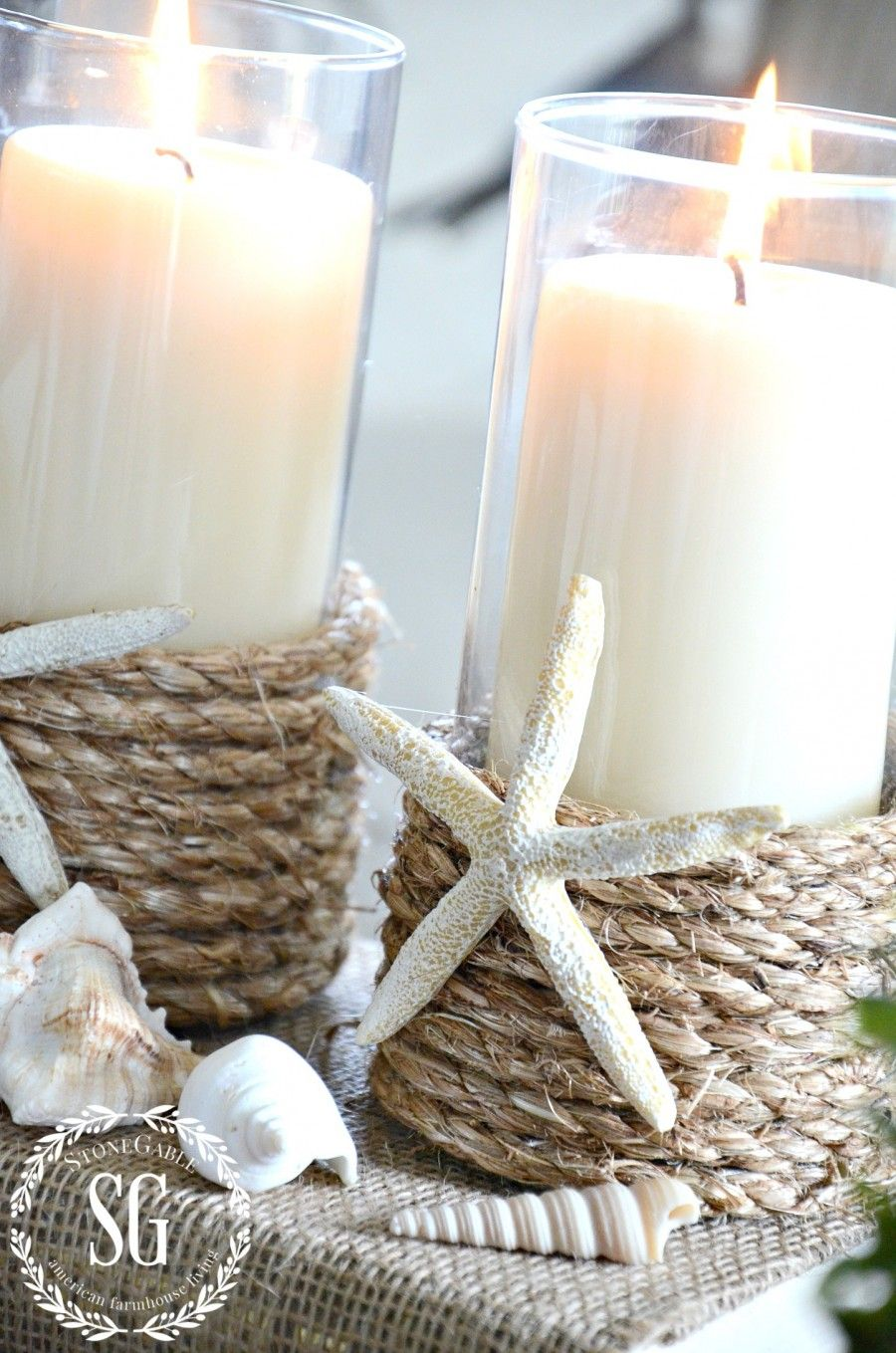 Pottery Barn Inspired Rope Wrapped Candleholder Diy