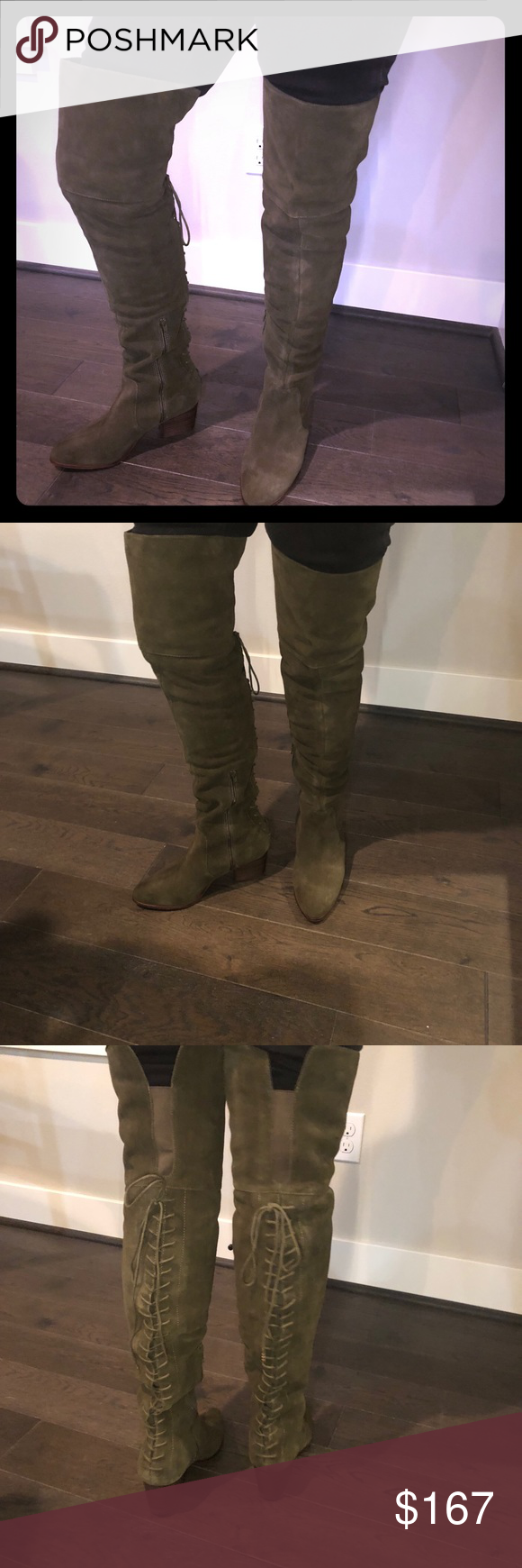 knee boot. Olive green suede. Brand