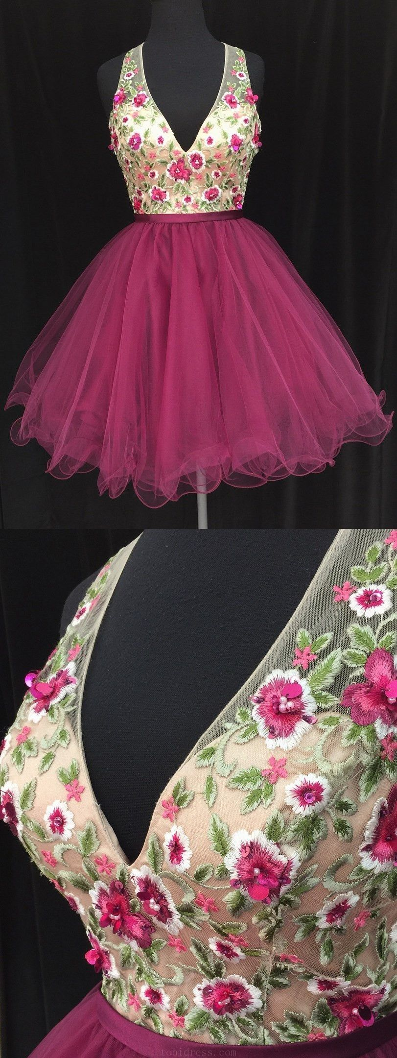 Delightful v neck short embroidery floral fuchsia homecoming dress