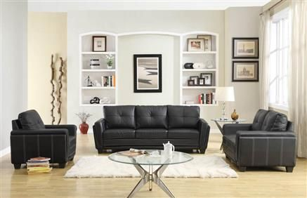 Dwyer Modern Black Wood Vinyl Living Room Set Living Room Leather Living Room Sets Furniture Black Living Room Set
