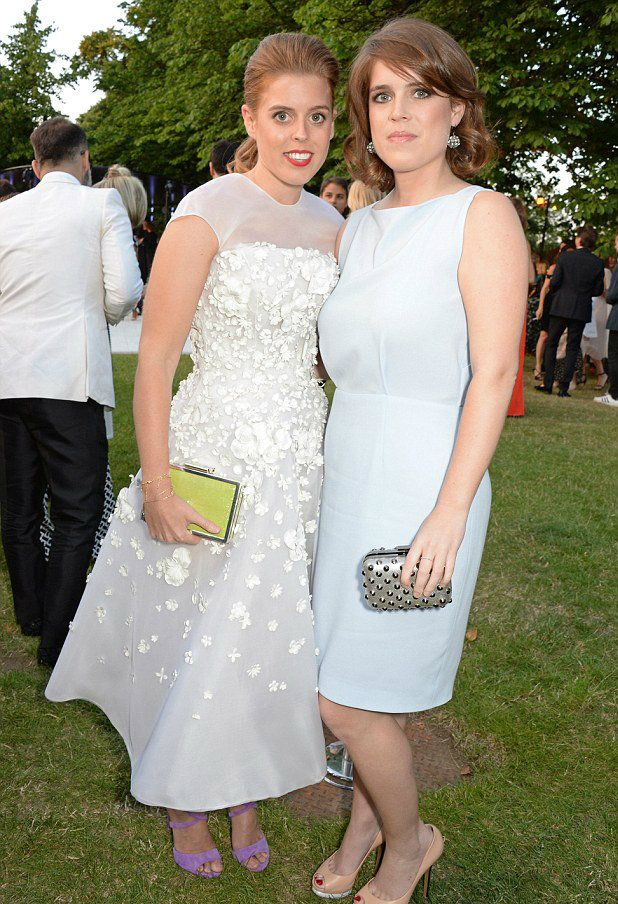 royaltyspeaking:  Serpentine Gallery Summer Party, Hyde Park, London, July 1, 2014-Princess Beatrice and Princess Eugenie