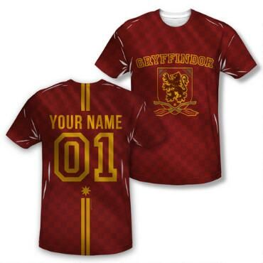 Exclusive Personalized Gryffindor Crest Adult Quidditch Jersey Style T-Shirt |HarryPotterShop.com