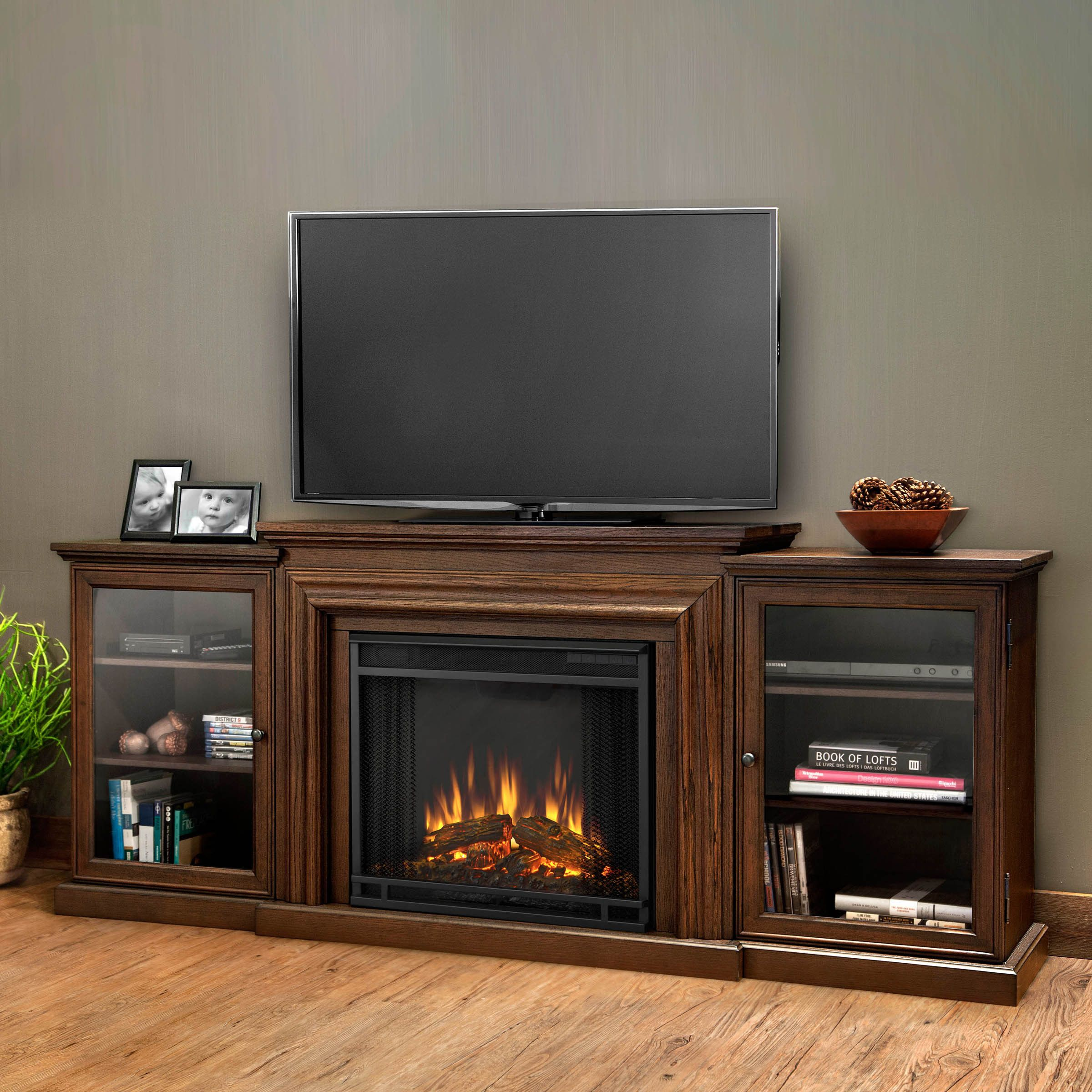 Traditional 58 Driftwood Fireplace Tv Stand With Doors Doors