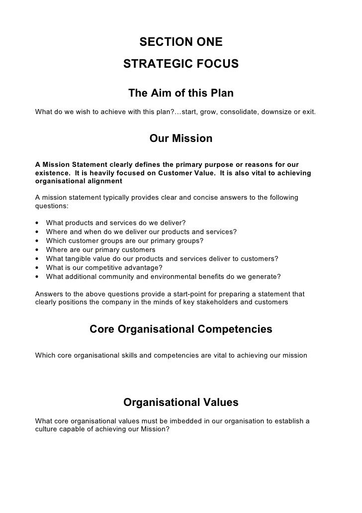 Comprehensive Strategic Business Plan Template  Negcio