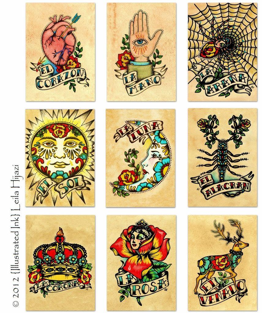 Old School Tattoo Art Prints Mexican Loteria SET Of 9