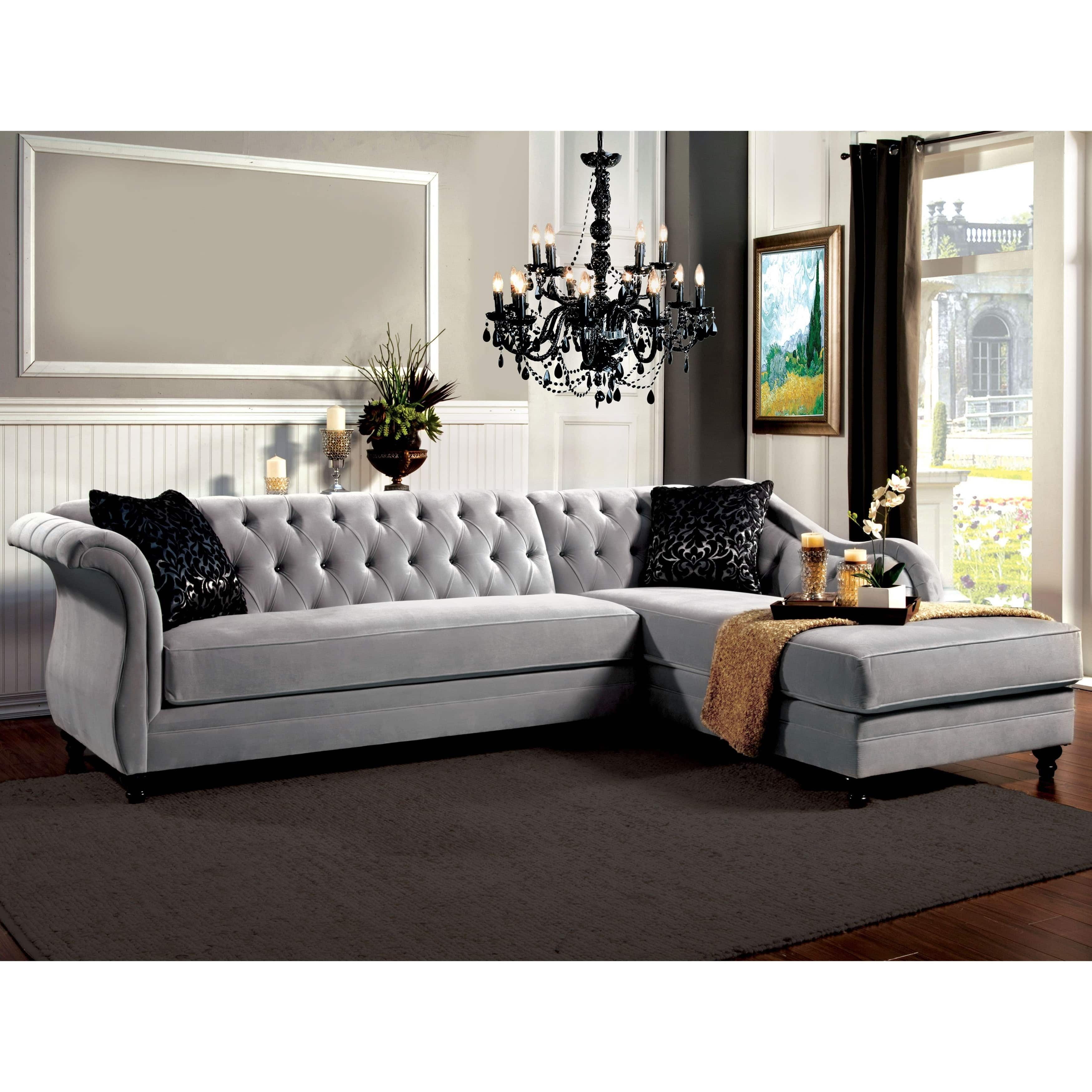 Furniture Of America Gito Contemporary Velvet 2 Piece Sectional Tufted Sectional