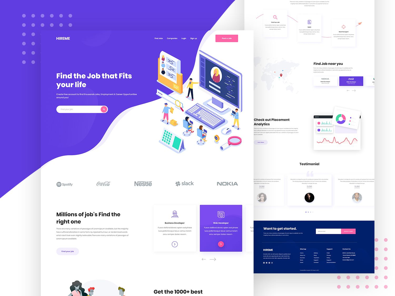 Job Portal Landing Page Typography Ios Clean Uigraph Trend 2019 Work Job Design Creative Gradient Color Website Uiux Corporate Job Portal Landing Page Job Page