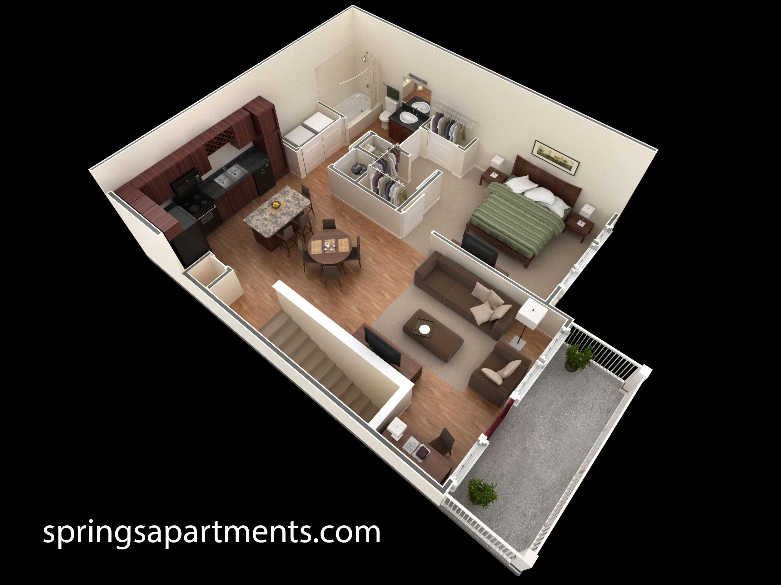 1 Bedroom 1 Bath 857sf At Springs At Creekside This 1 Bedroom Designer Overlook Comes With A Large Wa One Bedroom House Floor Plan Design Small House Design