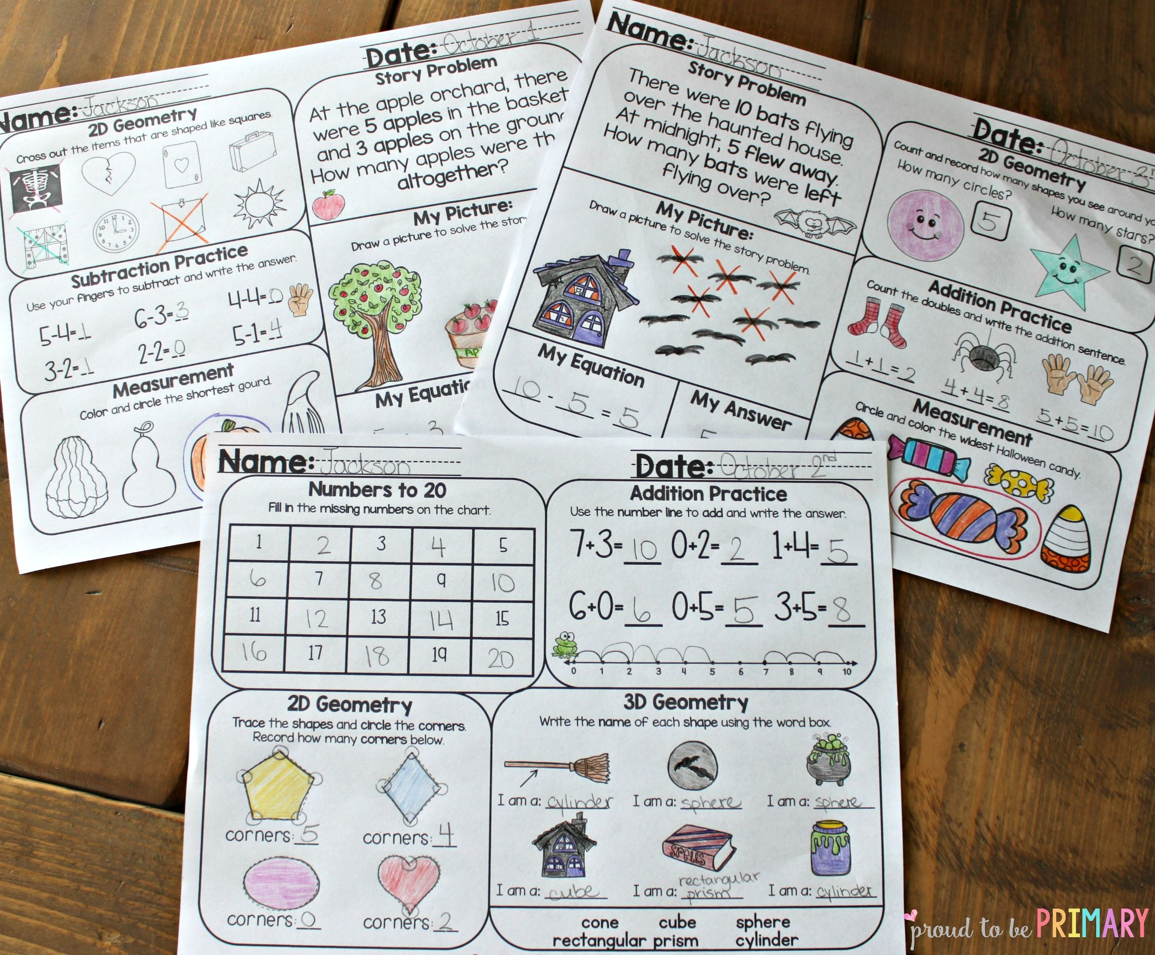 October Math Review Worksheets For First Grade Con