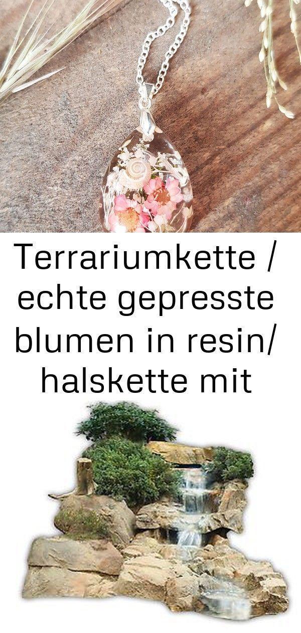 Bezaubernde Gießharzkette mit echten getrockneten Blüten einer MuschelnStreuk…