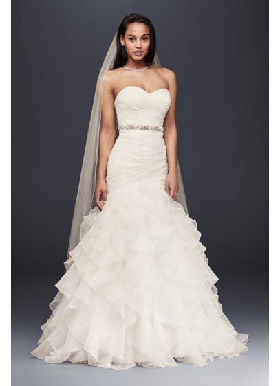 Organza Mermaid Wedding Dress With Ruffled Skirt David S Bridal Davids Bridal Wedding Dresses Ruffle Wedding Dress Bridal Wedding Dresses