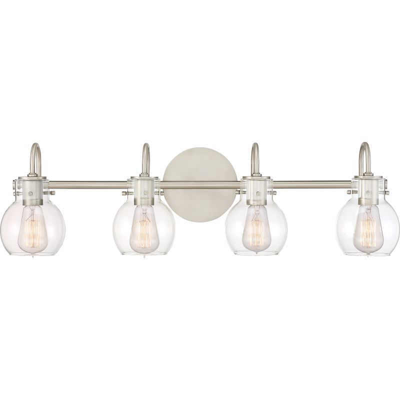 """Bathroom Vanity Lights Clear Glass quoizel anw8604 andrews 4 light 31"""" wide bathroom vanity lights"""