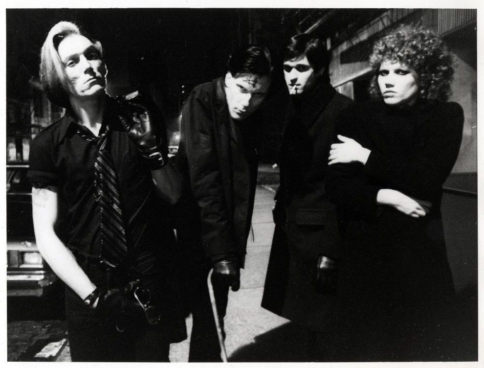 Garage punk band The Cramps standing outside the CBGB (1977).