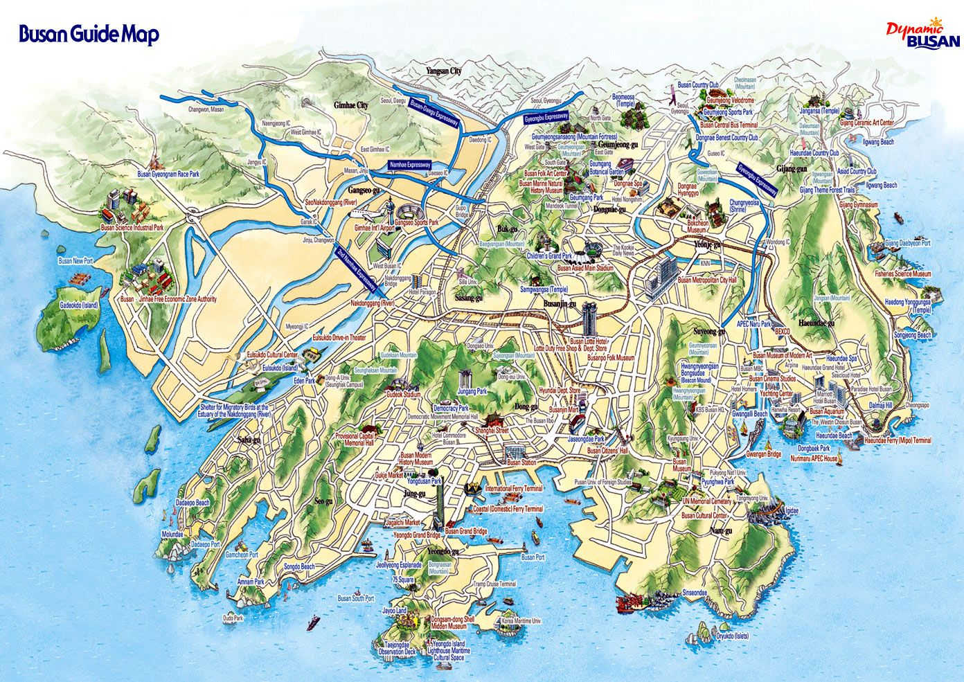Busan City Tourist Map busan korea mappery vschai1012