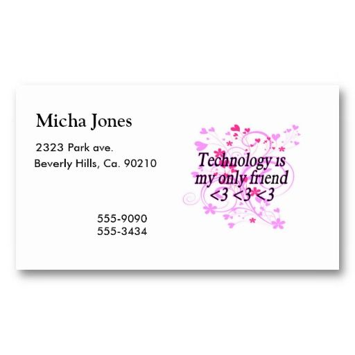 Technology Is My Only Friend Business Card Template