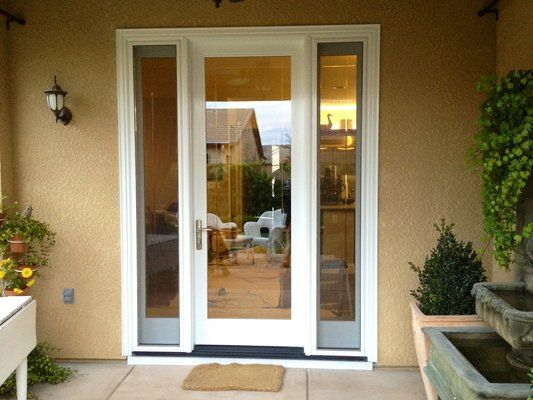 Exceptional patio french doors with sidelights 8 single for Single swing patio door