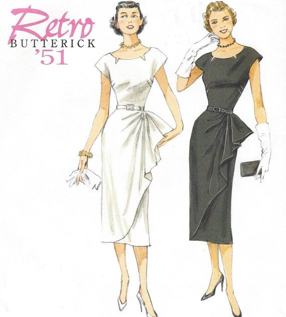 Retro 50s Womens Dress with Side Overlay Butterick Sewing Pattern ...