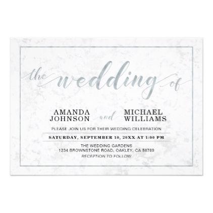 Marble  Simple Modern Typography Wedding Ceremony Card  Modern