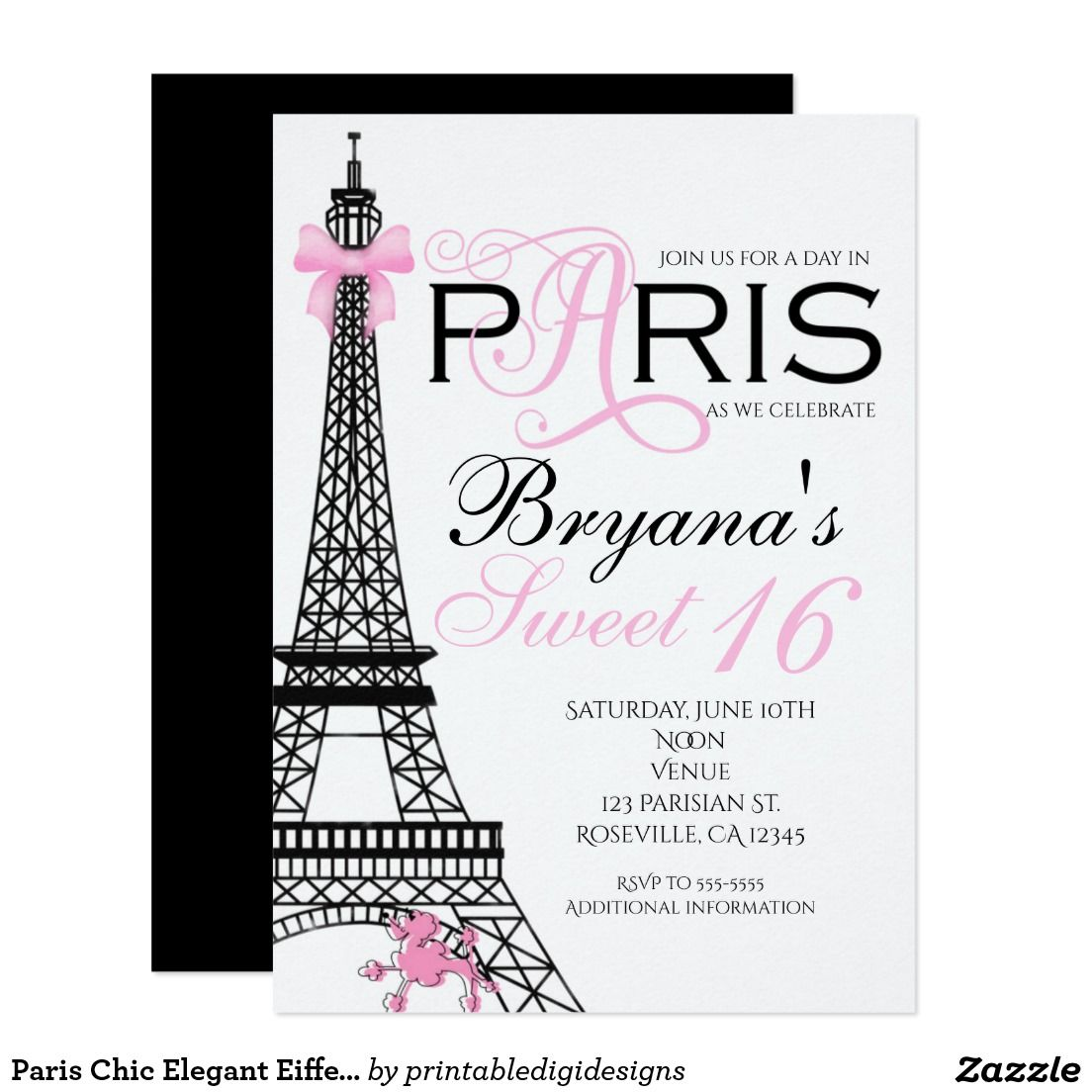 Paris Chic Elegant Pink & Black Party Invitations | Sweet 16 ...