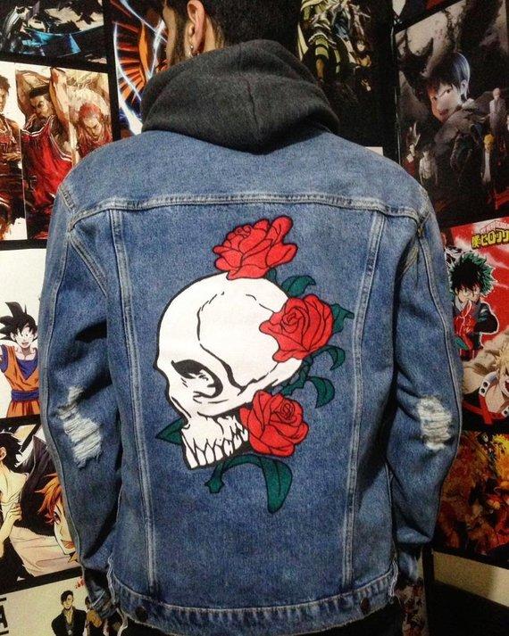 714c90f8136 Skull Love custom denim jacket | Products | Painted denim jacket ...