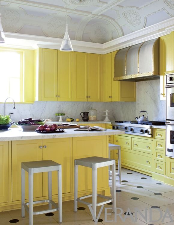 Kitchen Dreams Lemon Yellow Kitchen Cabinets Beautiful Curved Coffered Ceiling And Brass Trimmed