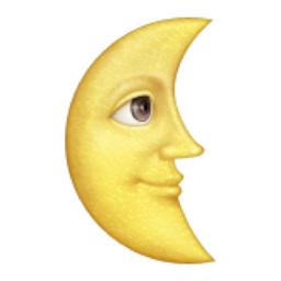 Last Quarter Moon With Face Emoji U 1f31c Moon Face Moon Emoji Emoji