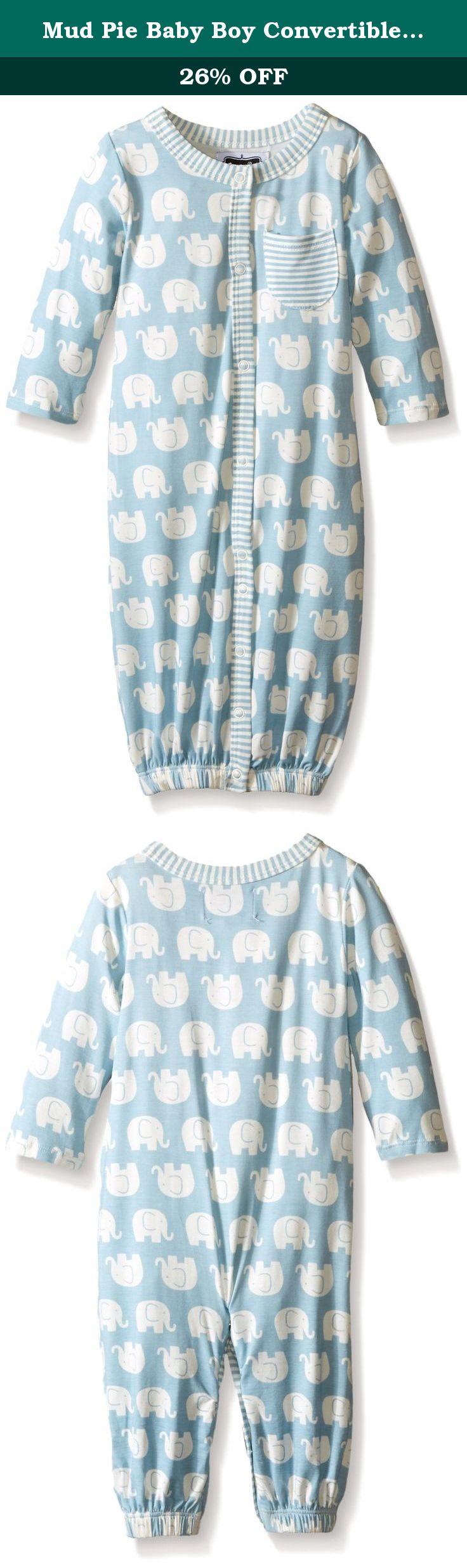 Mud Pie Baby Boy Convertible Sleepwear Gown, Blue, 0-3 Months. V ...
