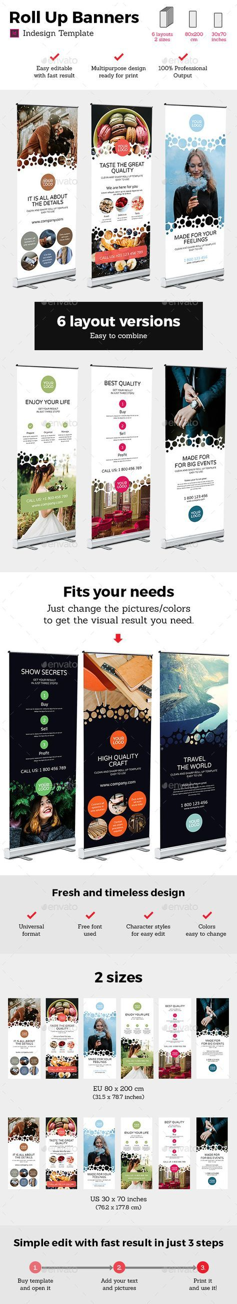 Rollup Stand Banner Display Bubble 12x Indesign Template | Valla ...