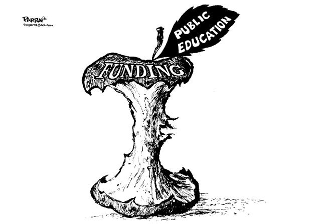 cartoon education cartoon Funding cuts for public education