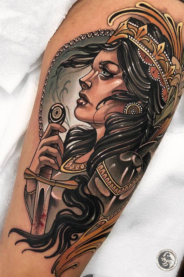 Woman Portrait Tattoo For Men By Tattoo Artist Marty Early France In 2020 Traditional Tattoo Neo Traditional Tattoo Medieval Tattoo