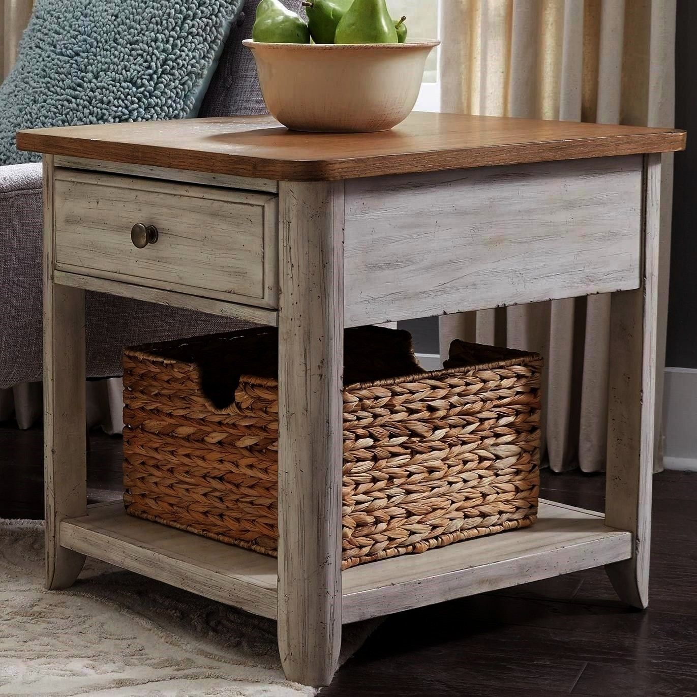 Relaxed Vintage 1 Drawer End Table with Basket by Liberty Furniture at Darvin FurniturebasketFarmhouse Reimagined Relaxed Vintage 1 Drawer End Table with Basket by Libert...