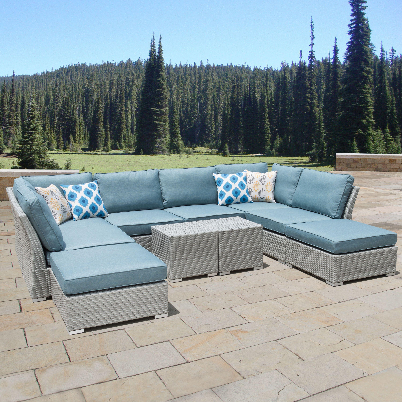 Stupendous Corvus 10 Piece Grey Wicker Patio Furniture Set With Blue Download Free Architecture Designs Aeocymadebymaigaardcom